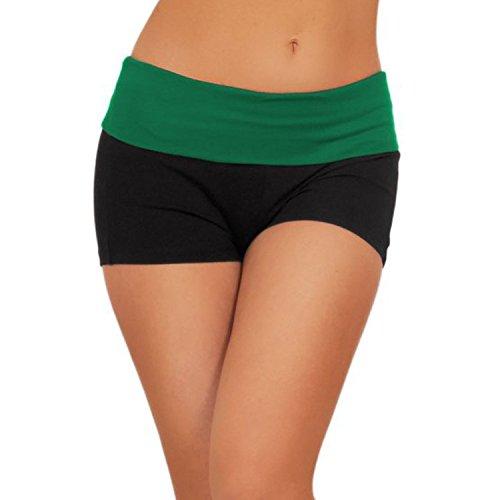 Hippolo Femme Pantalon Court Short de Yoga Danse de Sport Short (M, vert) Vert