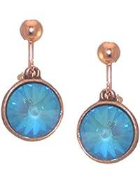 RIVOLI Antik Kupfer Ultra Blau Swarovski Crystal-Clip auf Ohrringe