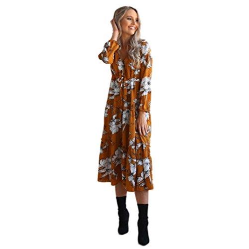 Bridal Lace Jacke (LSAltd Damen Damen Vintages V-Ansatz Blumendruck Kleid Boho langes Maxi Kleid Partei Kleid (Gelb, S))
