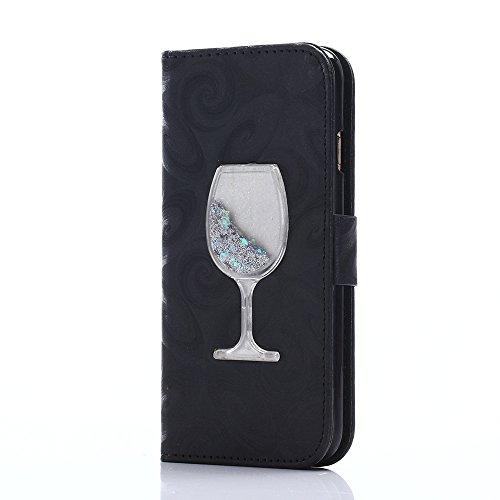iPhone 5 Custodia,iPhone 5S Cover,Custodia Portafoglio Flip PU Stand Cover Per Apple iPhone 5S/5/SE,Elegante Borsa in Pelle Custodia Case Cover Protezione Chiusura Ventosa,Cool 3D Cristallo Bicchiere di vino rosso Design Nero Case Partten