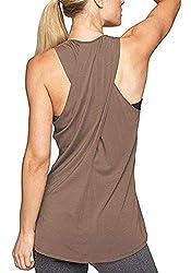 Lofbaz Frauen Cross Back Yoga Shirt Aktivbekleidung Trainings Racerback Tank Top - Kaffee - XL