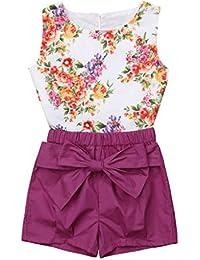 feae5f044fe CUTUDE Vêtement Bébé Fille 2 Pcs Décontractée Été sans Manche T-Shirt  Imprimé de Fleurs