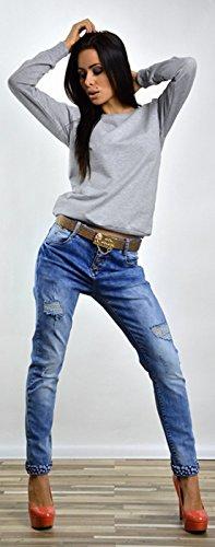 Capri Moda - Femme Pull Molletonné Sweat-shirt Manches Longues Col Rond - 8168 Gris Chiné