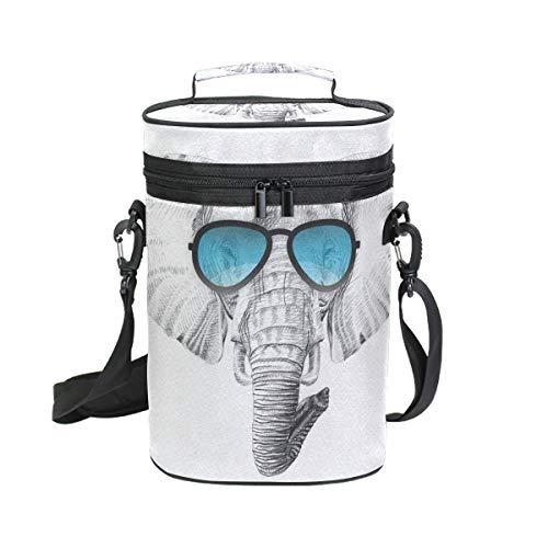 Bennigiry Sketch Afrika-Elefanten-Sonnenbrille, isoliert, für 2 Flaschen, Reise-gepolstert, mit Tragegriff und Schultergurt