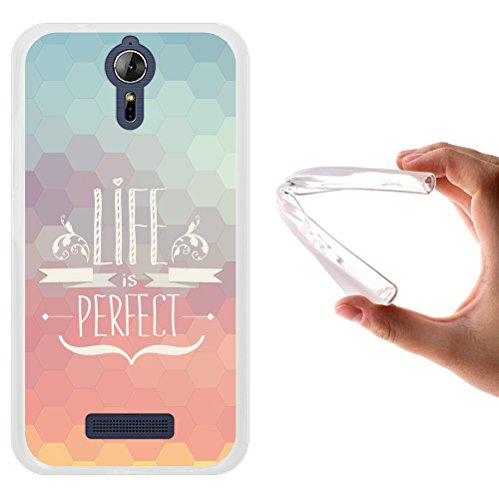 WoowCase Acer Liquid Zest Plus Hülle, Handyhülle Silikon für [ Acer Liquid Zest Plus ] Satz - Life is Perfect Handytasche Handy Cover Case Schutzhülle Flexible TPU - Transparent