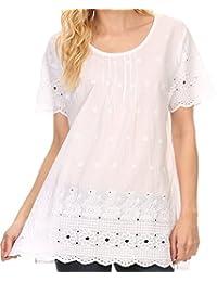 Sakkas Floyra long Floral Crochet Fleur brodé à manches courtes Blouse Shirt Top