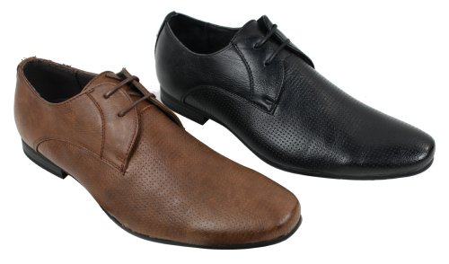 Mens Black Tan Brown perforées Chaussures Cuir Smart Casual italiennes Noir