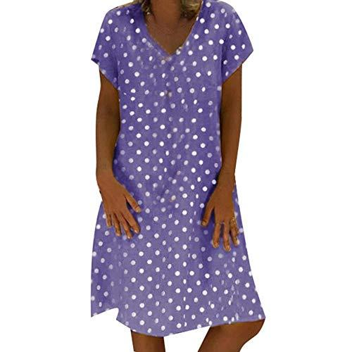 8a691874dc34 Robe Été Femme de Plage Mode V Style Lin Imprimé à Pois Robes au Genou  Manches Courte Casual Style National Châle Confortable Vacances Robe Jupe  ...