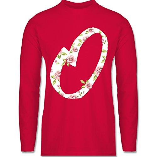Shirtracer Anfangsbuchstaben - O Rosen - Herren Langarmshirt Rot