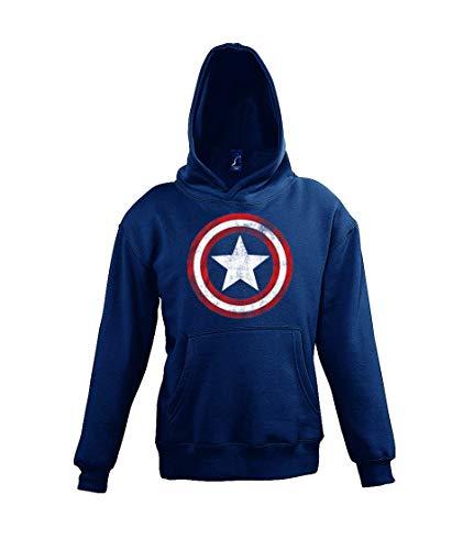 TRVPPY Kinder Hoodie Kapuzenpullover Modell Vintage Captain America, Gr. 6 Jahre (106/116), Navyblau (Captain America Mädchen)