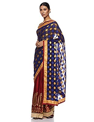 Womanista Women's Embroidered Satin Saree with Blouse Piece