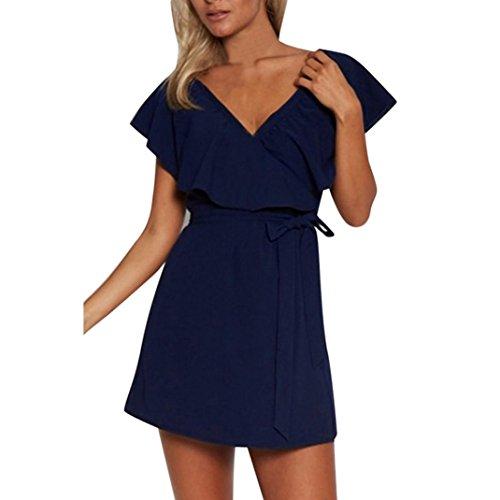 er Kleider Damen Kurze ärmel Kleid Rock V-Ausschnitt Kleid Ladies Mode A-Linie Beachwear Strandkleider Kurz Abendkleid (XL, Blau) (Cocktail Womens Kostüme)