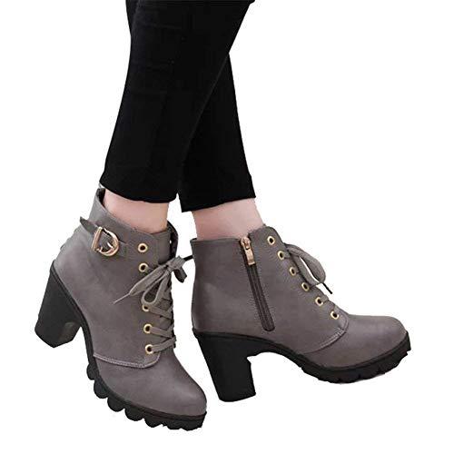 DEED Damen 'Stiefel Pu Schnalle Seite Reißverschluss High Heel dicken Boden Martin Stiefel,38 EU,Grau -