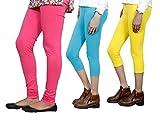 Indistar Women Cotton Bio-Wash Legging With Women Cotton Capri Set of -3