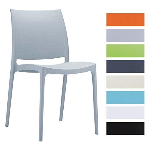 CLP Design Küchenstuhl, Stapelstuhl, Gartenstuhl MAYA, stapelbar, wasserabweisend, UV-beständig (bis zu 8 Farben wählbar) hellgrau