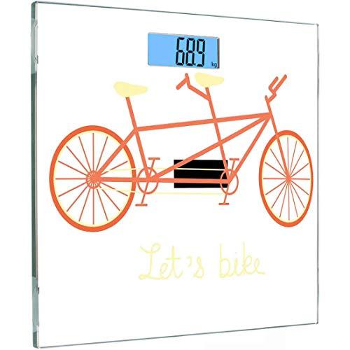 Ultra Slim Hochpräzise Sensoren Digitale Körperwaage Fahrrad Gehärtetes Glas Personenwaage, Lets Bike Hand Schriftzug Zitat und Retro-Fahrzeug Sommer Hobby, Black Coral und Pale Yello