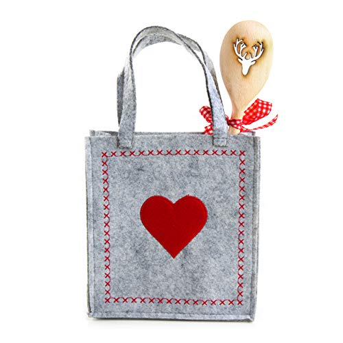henktaschen 18 x 20 cm Filz + Hirsch Geweih Holz Kochlöffel Verpackung Weihnachten Geschenkbeutel HERZ rot grau kariert Kunden ()