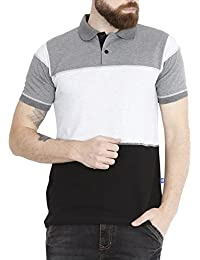 Fanideaz Men's Half Sleeve Cotton Colour Block Polo T Shirt