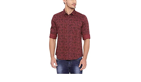 eac8e3f9e8 BASICS Slim Fit Cordovan Red Twill Printed Shirt: Amazon.in ...
