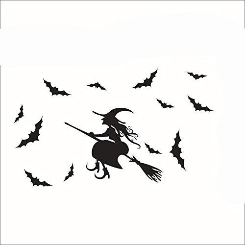 Wand-Aufkleber/abziehbare Fenster-Aufkleber für Halloween, Hexe, Fledermaus