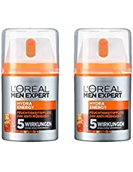 L'Oréal Men Expert Hydra Energy Feuchtigkeitspflege, müde/normale Männerhaut, Anti-Müdigkeit, Vitamin C und Guarana (2 x 50 ml)