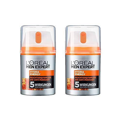 L\'Oréal Men Expert Hydra Energy Feuchtigkeitspflege, müde/normale Männerhaut, Anti-Müdigkeit, Vitamin C und Guarana (2 x 50 ml)