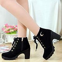 ACWTCHY Sneakers Women Shoes Fashion Solid Lace-up Ladies Shoes Women Boots High Heels Shoes Woman Zipper Ankle Boots Women Pumps 8 Black