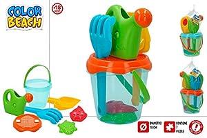ColorBaby Cubo Playa TRASLUCIDO 18 CM con Accesorios,MOLDES Y REGADERA 43503
