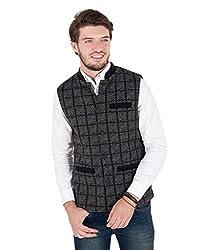 Zoravie Mens Check Pattern Cotton Sleeveless Nehru Jacket, Black