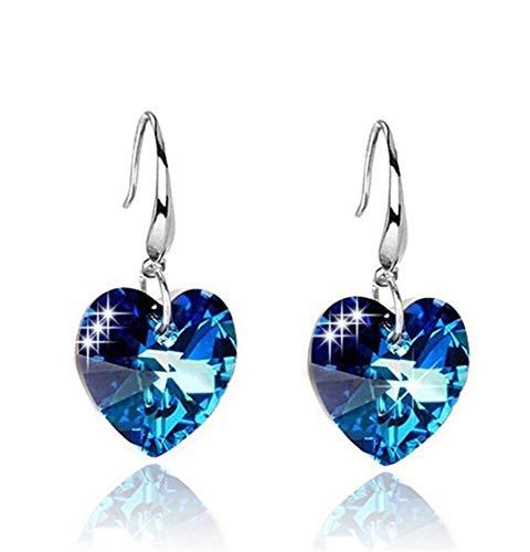 House full of romance unico moda gancio dell'orecchio cuore creativo del mare brillante cristallo blu orecchini da donna banchetto regalo di compleanno 10 * 10 cm