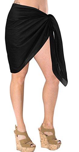 LA LEELA suave 100% algodón mujeres feas sólida pareo pareo de playa 72x21 pulgadas negro