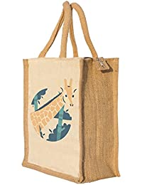 Nisol Cute Girrafe Classic Printed Lunch Bag | Tote | Hand Bag | Travel Bag | Gift Bag | Jute Bag