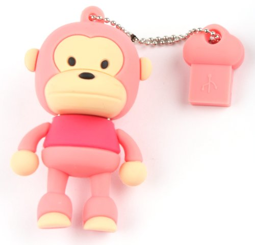 Ricco ® 4GB Baby Monkey USB 2.0 High Speed Silicon Flash Memory Drive Disk Stick Pen Support Windows and MacOS Great Gift (4GB PINK)