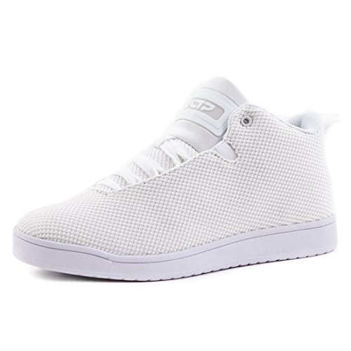 Stylische Unisex Damen Herren High Low Top Schnür Sneaker Basketball Sport Freizeit Turn Schuhe Créme Weiß
