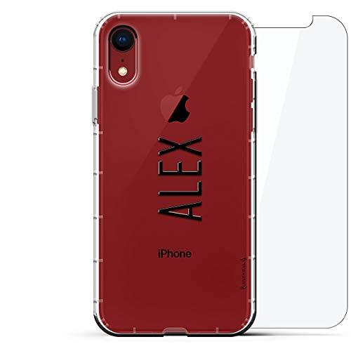 Luxendary Designer, 3D-Druck, Mode, Luftpolster-Kissen, 360 Glas-Schutz-Set für iPhone XR - Klare Albanian Flagge, Name: Alex, Stil MIT MODERNER Schriftart, farblos