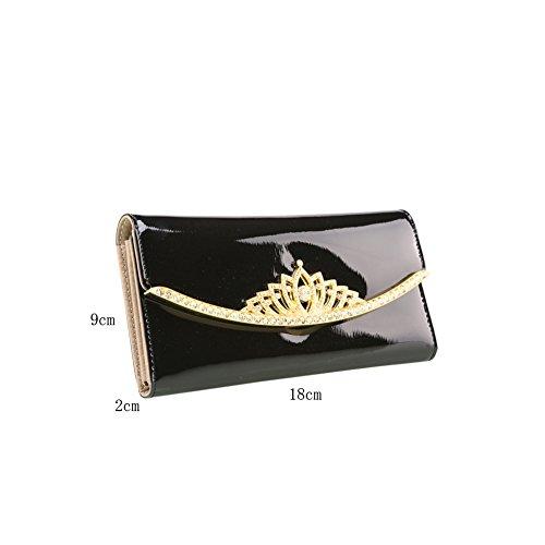 PU Piega Lunga Pelle moda donna Portafoglio borsa Ecopelle Wallet raccoglitore Pocket Portamonete Nero