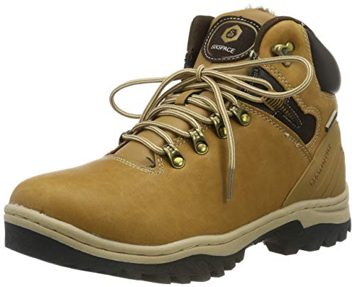 SIXSPACE Herren Winterstiefel Warm Gefütterte Winterschuhe Outdoor Schneestiefel Wanderschuhe Rutschfeste Arbeitsschuhe Winter Boots (Gelb 43 EU)