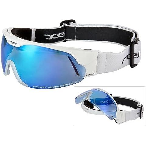Maschera da Sci RELAX per Adulto/Cross-Country Goggles/Occhiali da Sole Neve Ciclismo MTB Bici Biathlon/Lente Flip Up//Dimensioni: M/L/HTG34 (HTG34A)