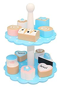 MAGNI-Pastel en Madera Stand con 12Petits Fours, 1571B, Azul