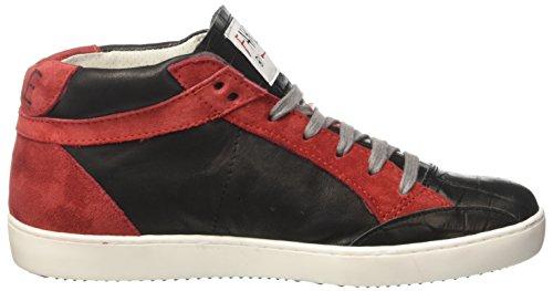 Fake By Chiodo Unisex-Erwachsene Mid 101 Hohe Sneaker Nero (West Nero/Crosta Porpora)