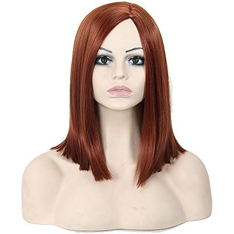 Pelucas de la manera conveniente y cómodo Europa y la manera de las señoras de peluca original llevar hombros peluca sintética recta peluca peluca cuidado suite soporta archivos