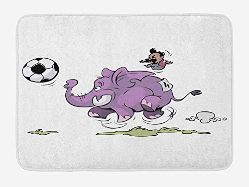 Elephant Bath Mat, Elephant Playing Soccer with a Kid Moustache Sports Theme Football Print, Plush Bathroom Decor Mat with Non Slip Backing, 15.7X23.6 inch, Purple White
