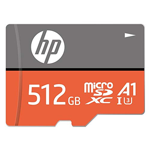 HP MicroSD Card U3, A1 512 GB  High Speed (Write Speed 85 & Read Speed 100 MBPS Records 4K UHD and Fill HD Video)
