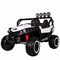 VLRA Children's electric car 2-Seater 24v 4-Wheel Drive Ride-In Off-Road Jeep (white)