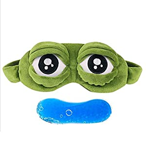 Erduo Schöne Frösche Augen Schlafaugenmaske Elastische Binde Eyeshade Cover Augenklappe Augenbinden Für Flug Reise Büro Nacht Schlaf – Grün