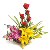 Floralbay Basket Arrangement of 11 Red Roses,Yellow AsiaticLilies and Purple Orchids Fresh Flowers
