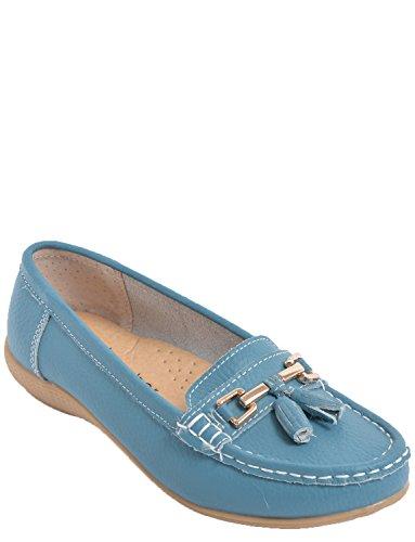 Portefeulilles En Cuir Pour Chaussure Mocassin bleu sarcelle