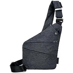 Bolso del Hombro STRIR Multiusos Anti-Robo de Seguridad Ocultos de la Bolsa Underarm Hombro axila Bolsa de Mensajero Deportes de Ocio Bolsa de Pecho Mochila Portátil para el teléfono Dinero (A)