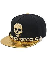 Blancho Casquette Snapback réglable style Hip-Hop Punk Rock Motif crâne Croco doré