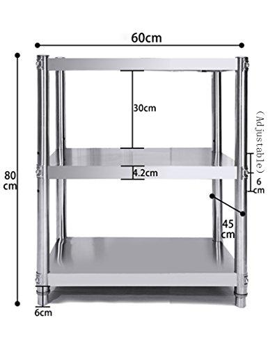 HWF Etagères de cuisine Étagères de cuisine 3 couches Rack de rangement en acier inoxydable étagère à micro-ondes (taille : 60 * 45 * 80cm)